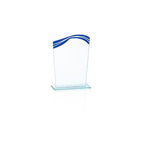 20160 - targa in vetro blu e trasparente